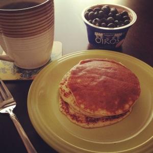 Banana- Egg Pancakes and Yogurt